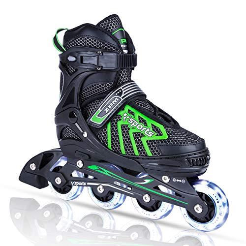 2pm Sports Brice Größe verstellbar Inline Skates für Kinder, Herren und Damen, LED-Räder leuchten nachts auf - Grün - 39-42 (L)