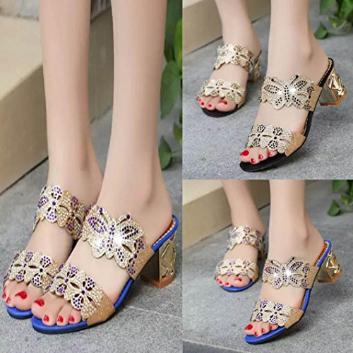 FALAIDUO Women Rhinestone Diamante Crystal Slippers Flip Flop Wedges Sandals Fashion Open Toe Shoes Butterfly Summer Heels Shoes