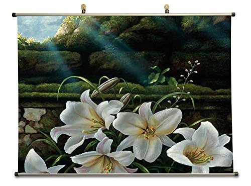 lilies-bloom-to-light-canvas-wall-scroll-poster-32x24-inches-by-rock-bull