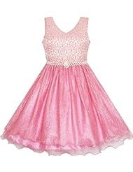 Sunny Fashion Robe Fille Fleur Fille Habiller Pétillant Perle Ceinture Crevette Rose Mariage Demoiselle d'honneur 3-14 ans