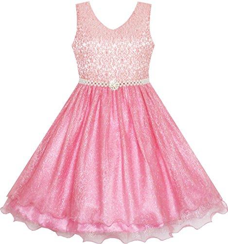 (Sunboree Mädchen Kleid Blume Mädchen Kleiden Funkelnd Perle Gürtel Garnele Rosa Hochzeit Brautjungfer Gr.98)