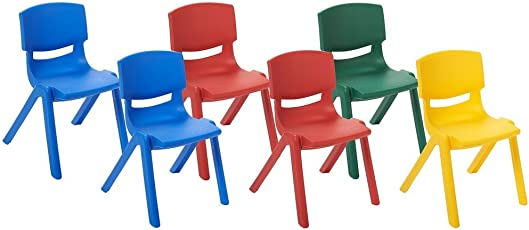 Playgro Multicolour Kids Chairs - Set of 6 - (Size- 13 X 13 X 20 inch)