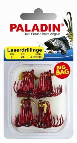 Laser Drillinge rot Drillingshaken Großpackung Haken Big Bag 15 bzw. 24 Stück, Größe:4