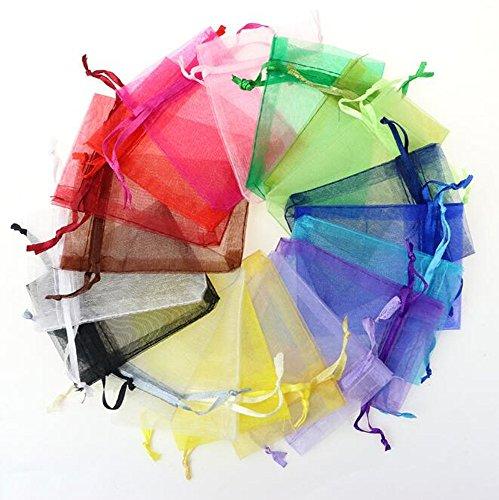 IROCH 2.75 x 3.5 pollici di colore misto del Organza del regalo sacchetti di caramelle favore della festa nuziale Borse Gift Bag con coulisse Bagno Sapone Nail Polish Potpourri bagagli Borse Borse Bridal Shower (pacchetto di 100pcs)