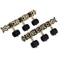 Alice AO-020HV3P 1par (izquierda + derecha) Llave de Afinación de Oro / Negro Plateado Clavija Sintonizador Machine Head (largo) Cadena Tuner para Guitarra Clásica