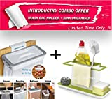 #6: ImPrexO 3 in 1 Kitchen Sink Organiser and Attach-A-Trash Hanging Trash Bag / Dustbin Holder Combo for Home & Kitchen | Multipurpose Use | Organize Kitchen | Manage Trash