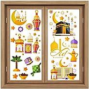 Zonon 80 Pieces Ramadan Window Clings Eid Mubarak Window Stickers Static Ramadan Kareem Window Decals Removabl