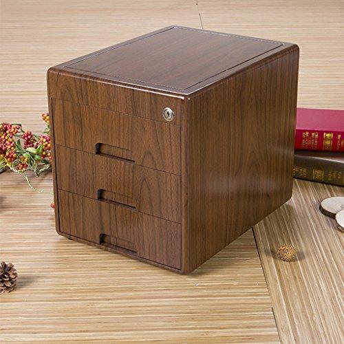 Met Love Massivholz Aktenschrank High-End-Mode Büro Desktop Drei-Schicht abschließbare Schublade Daten Dokument Sonstiges Geldeingang Aufbewahrungsbox Tresore (Massivholz Aktenschrank)