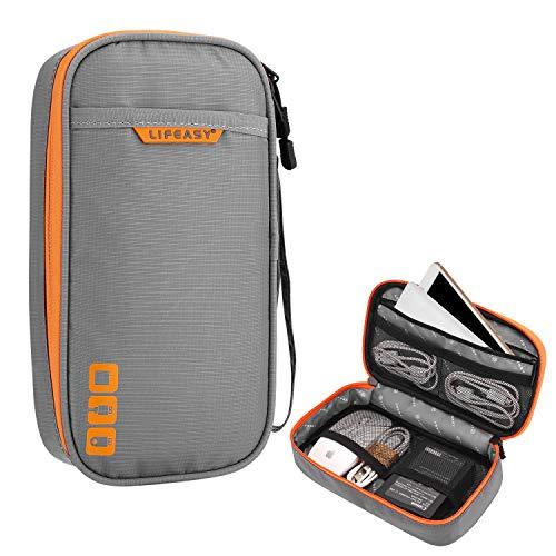 REXSO Electronics Kabel Tasche, Kabel Organizer Reisetasche Wasserdicht für Elektronische Geräte und Zubehör, für Kabel, Ladegerät, Powerbank, Adapter, Maus, SD-Karten (S - Einzelschicht, Grau)