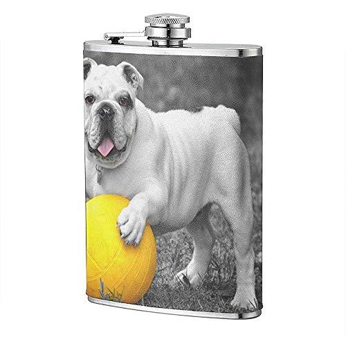 Tier Ball Bulldog Bw Hund Englisch Bulldog Gras Flachmann Tasche Flasche Flagon 8 Unzen Portable Edelstahl Flagon Camping -