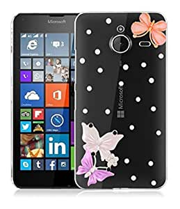 TrilMil Stone Studded Crstal Clear Back Cover Case For Microsoft Lumia 640 XL