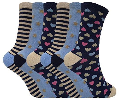 Donna Confezione Da 6colorato cute Funky traspirante calzini di cotone con molti motivi 4-7UK LTF09 (Cotone Rich Dress Calzini)