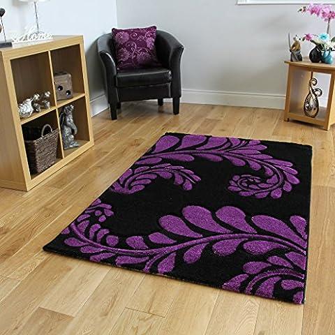 Tappeto contemporaneo, motivo foglia, colori: nero e viola - 180 cm x 270 cm (5'11