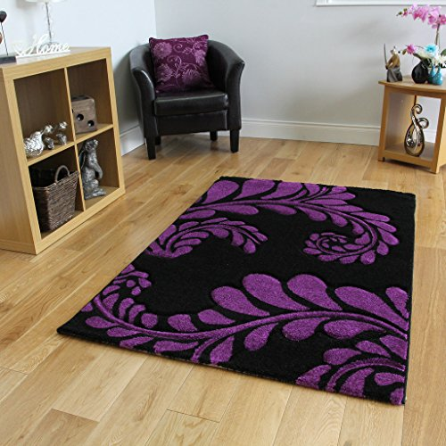 Comprar alfombra actual con flores en negro y morado 180 for Que significa alfombra