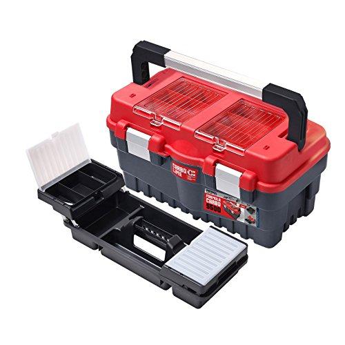 Werkzeugkoffer/Werkzeugkiste/Werkzeugbox/Koffer/Toolbox/Werkzeugkasten/Werkzeug-Box/Transportkoffer S 500, Abschließbar, Schwarz-Rot, 46 x 25 x 24 cm
