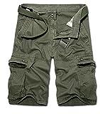 ZKOO Militaire Cargo Shorts Hommes Bermuda Shorts Avec Multi Poches Eté Pantacourt Shorts Court Pantalon de Travail Vintage Armée Verte (SANS CEINTURE)