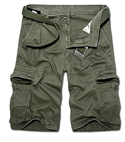 Pantalon Treillis Vintage - ZKOO Militaire Cargo Shorts Hommes Bermuda Shorts