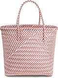 normani Kunststoff Flechtkorb - optimal als Einkaufs- oder Strandkorb geeignet Farbe Long Beach/Red