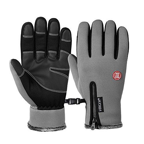 Vbiger Wasserdicht Winterhandschuhe Wasserdicht Fahrradhandschuhe Sporthandschuhe Warme Handschuhe Winter Handschuhe Outdoor Handschuhe mit dickem Fleecefutter - 8