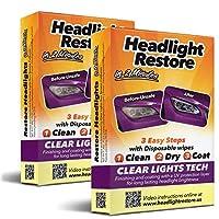 CLT Car Headlight Restoration Kit, Headlight Restorer Wipes (2)