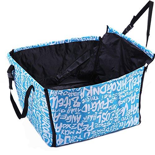 Autositz Hund 60x50x35 cm Hundesitz Auto-Schutz Hundekorb für Rückbank Transporttasche Schondecke Träger-Gurt verstellbar wasserfest sicherer Transport für Katze Haustier hell blau Buchstaben Da-tex Material