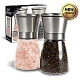 Moledor de sal y pimienta, molinillo manual de sal y pimiento, ajuste regulable de la finura con carcasa de acero inoxidable y gran capacidad (2 PC)