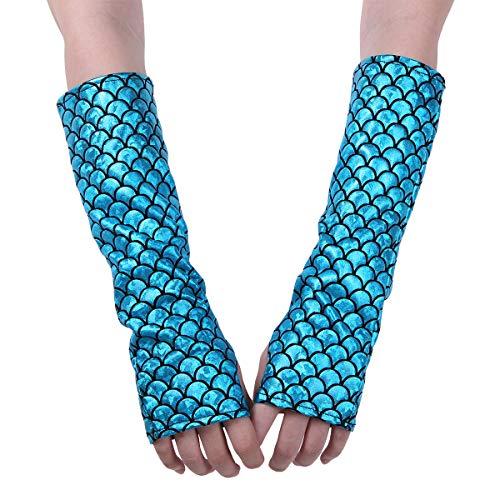 Zubehör Kostüm Meerjungfrau - dPois Damen Meerjungfrau Handschuhe mit Fischschuppe Wetlook Fingerlos Lang Stulpenhandschuhe für Party Cosplay Fasching Clubwear Kostüm Accessoires Zubehör Lake Blue One Size