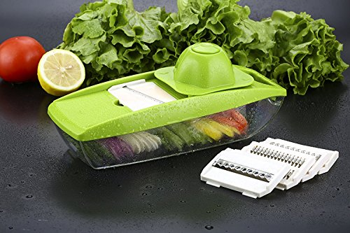 CJS Food Slicer and Fruit Cutter - Mandoline Vegetable Slicer - with 5 Interchangeable Sharp Blades, Safety Hand Guard, Butting Board, Blades Box and Easy Food Container