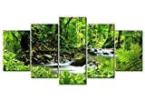 Oofficee Wall Art 5 Pieces Canvasspray Painting Modern Decorative Painting Cross-Border Supply Wulian Woods Small Stream, L