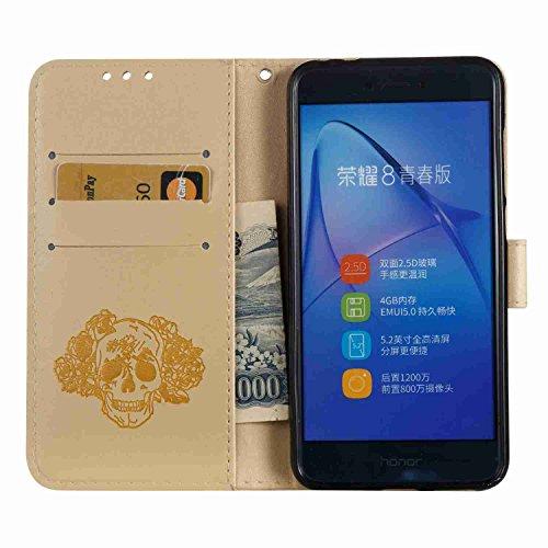 Cover Huawei P8 Lite 2017, Alfort 2 in 1 Custodia Protettiva in Pelle Verniciata Goffrata Campanula Alta qualità Cuoio Flip Stand Case per la Custodia Huawei P8 Lite 2017 Ci sono Funzioni di Supporto  Cranio Oro