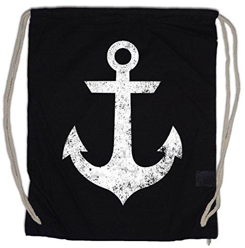 Tattoo Nautical Stars (Urban Backwoods Oldschool Anchor Vintage Logo II Turnbeutel Sporttasche Anker Nautical Star Tattoo Turnbeutel Sporttasche)