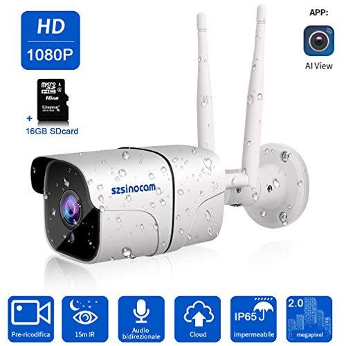 Telecamera IP Camera Esterno,SZSINOCAM FHD 1080P Telecamera Videosorveglianza WIFI senza fili Smart Home Camera, visione notturna,audio a 2 vie,Cloud, monitor baby domestico,iOS/Android / PC