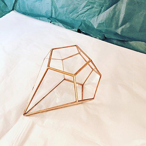 Kleines, geometrisches Design in Tropfenform Glas/handgefertigt/Terrarium, Glas, moderner Plantagenbesitzer Plantagenbesitzer für den Garten, gebeizt Glas, handgefertigt von Terrarium LoveGlass, glas, bronze, 12x12x16
