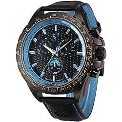 Shark Herren Armbanduhr Quarzuhr Sportuhr Armband aus Leder SH194