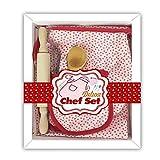 Hualieli Kinder-Back-Set, Backgeschirr-Set für Kinder, inklusive Schürze, Ofenhandschuh, echtes Backzubehör, Küchenkoch, Kostüm für Kinder, 6-teilig