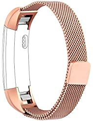 Vancle Bracelet pour Fitbit Alta HR et Fitbit Alta, Réglable en Acier Inoxydable Milanaise Bracelet de Rechange avec Fermoir Fermeture Magnétique