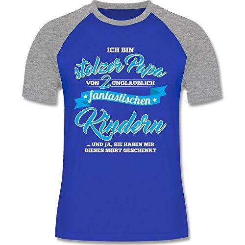 Shirtracer Vatertag - Stolzer Papa 2 Fantastische Kinder - Herren Baseball Shirt Royalblau/Grau meliert