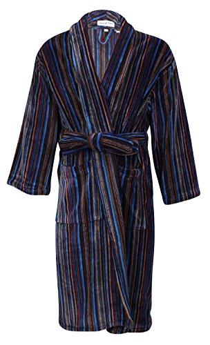 Bown of London - Luxuriöser Velours-Bademantel im Streifen-Design - Herren Mehrfarbig