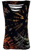 Guru-Shop Batik-Top, Tie Dye Cut Top, Damen, Schwarz, Viskose, Size:38, Tops, T-Shirts, Shirts Alternative Bekleidung