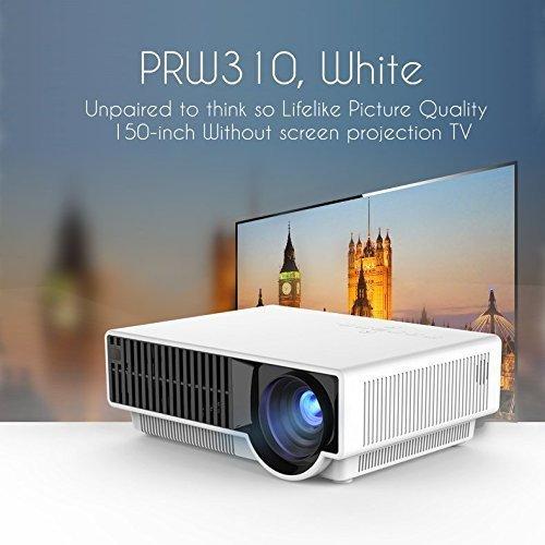 Uvistar-W310 Profecional Proyector 2800 lúmenes 1280x800 1080p Resolución Nativa textuales 20000 Horas proyector portátil LED para Cine en Casa Oficina Pequeña (W310 blanco)