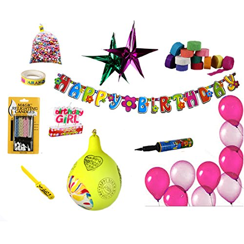 NHR Special birthday Decoration Kit for Girls. (Balloon, banner, Candles, Pump) total 67 Pieces