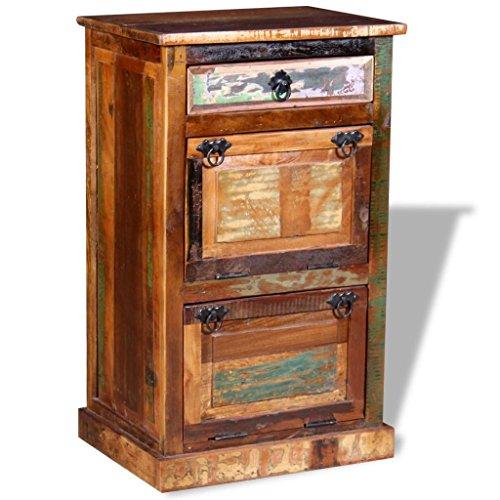 Festnight scarpiera a 4 ripiani con cassetto in legno massello recuperato
