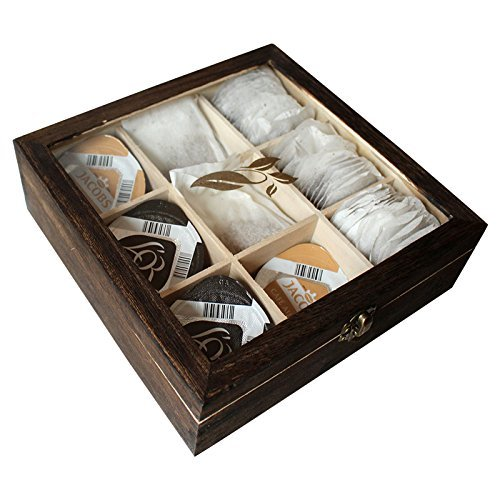 Dunkle Holz Teedose Organizer Box mit 9 Fächern für Tee Aufbewahrung von Kurtzy - Teebox Teekiste...