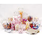 TOP STAR 12 Jar Vintage Victorian Pick & Mix Candy Buffet + Aluminium Scoop + 50 Gold Sweet Bags