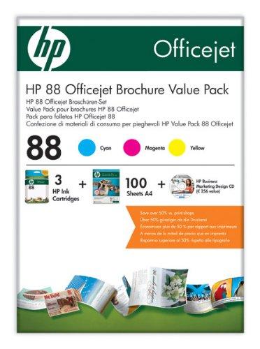 Preisvergleich Produktbild HP Brochure Value Pack Nr. 88 (3 Tintenpatronen Nr. 88, 100 Blatt Papier und Business Marketing CD)