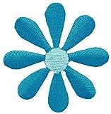 Blüte Klein Blume Cyanblau Blau Aufnäher Bügelbild Größe 3,5 x 3,5 cm