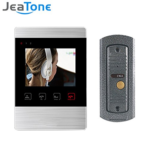 "Jeatone 4"" Enable Video Doorbell Video Door Phone Doorbell Intercom Kit 1 Camara 1 Monitor Video Recording and Photo Taking Home Security System"