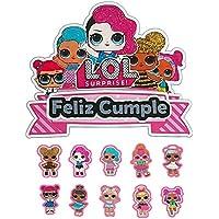 Mata Diseños. Topper de tarta de Cumpleaños para niñas Feliz Cumpleaños LOL, (11pcs) incluye 10 mini cake toppers para cup cakes. 100% Hecho a mano y diseño original