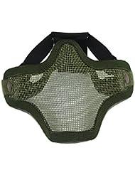 Máscara Táctico Facial Protección Malla Media Militar Huelga Acero Aire Suave - Verde