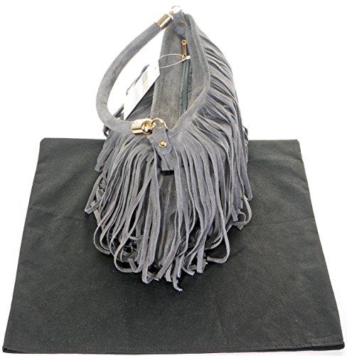 Italiano camoscio cuoio splendido fiocco lungo Grab o spalla borsetta con Metalwork oro e tracolla staccabile.Fornita nella pratica custodia protettiva marca Grigio